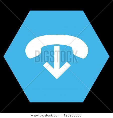 Phone Hang Up vector pictogram. Image style is bicolor flat phone hang up iconic symbol drawn on a hexagon with blue and white colors.