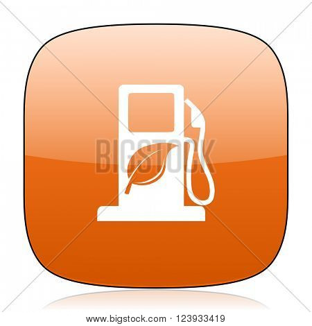 biofuel orange square glossy web icon