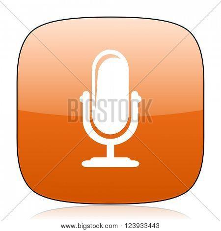 microphone orange square glossy web icon