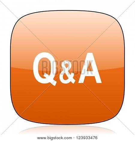 question answer orange square glossy web icon