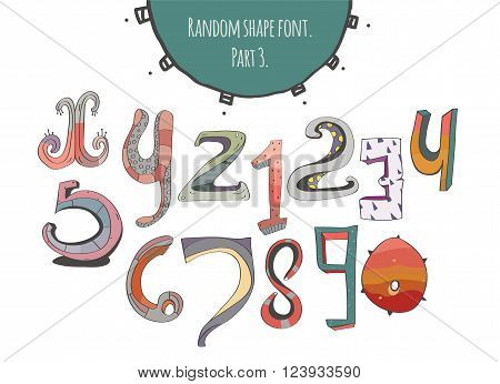 Hand-drawn capital letters from X to Z and digits in different styles stylish simple geometric ornate with stripes three-dimensional perfect for education and lettering vector illustration.