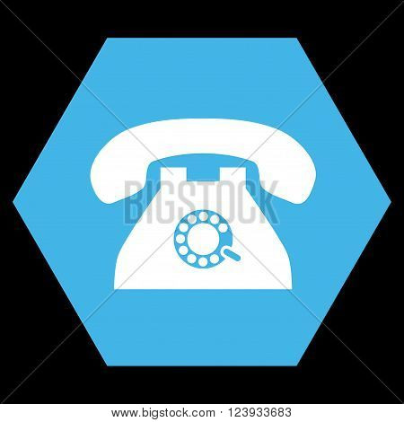 Pulse Phone vector icon. Image style is bicolor flat pulse phone icon symbol drawn on a hexagon with blue and white colors.