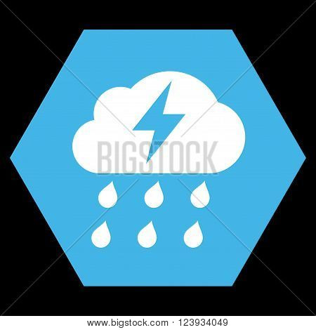 Thunderstorm vector symbol. Image style is bicolor flat thunderstorm pictogram symbol drawn on a hexagon with blue and white colors.