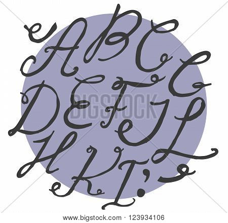 Ink alphabet A to I freehand funky based on calligraphic swirls. Vector illustration made with brush and black dye. Cursive upper case font useful for branding lettering and writing.