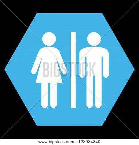 WC Persons vector icon. Image style is bicolor flat WC persons iconic symbol drawn on a hexagon with blue and white colors.