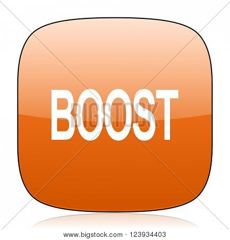 boost orange square glossy web icon