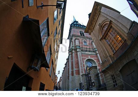 Stockholm, Sweden - January 06, 2013: an old street in the Gamla Stan (The Old Town) area of Stockholm