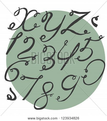 Ink alphabet X to Z with numbers freehand funky based on calligraphic swirls. Vector illustration made with brush and black dye. Cursive upper case font useful for branding lettering and writing