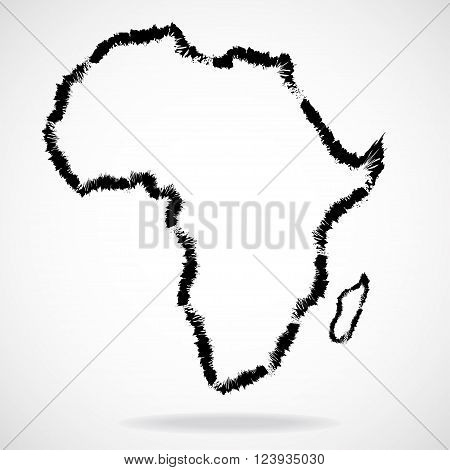 Vector map of Africa, painted brush, continent