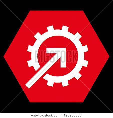 Cog Integration vector symbol. Image style is bicolor flat cog integration iconic symbol drawn on a hexagon with red and white colors.