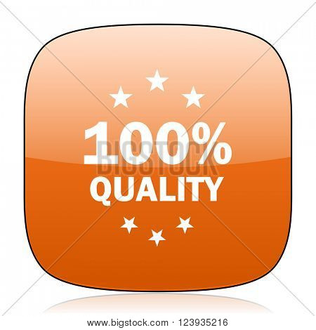 quality orange square glossy web icon