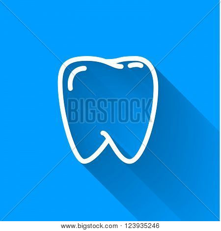 Human teeth simple white icon with long shadow on blue background