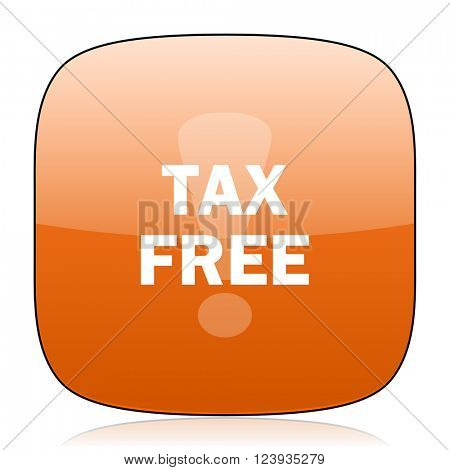 tax free orange square glossy web icon