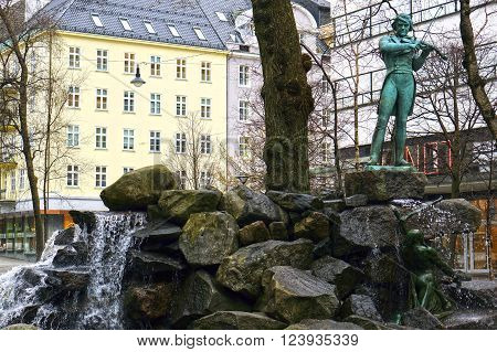 Bergen, Norway - May 06, 2013: statue of Ole Bull
