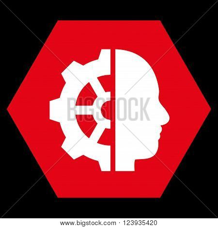 Cyborg Gear vector symbol. Image style is bicolor flat cyborg gear icon symbol drawn on a hexagon with red and white colors.