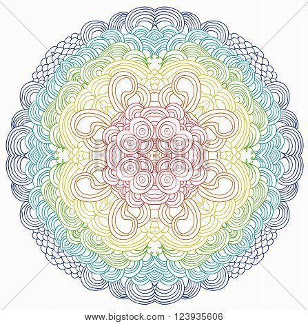 Rainbow vector pattern. Can be used as adult coloring book's page. Uncolored rainbow pattern. Zentagle. Zendala.