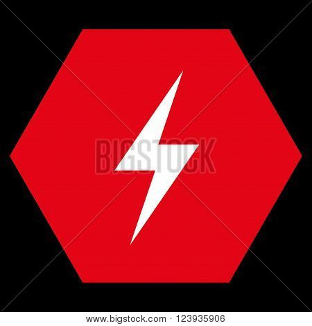 Electricity vector icon. Image style is bicolor flat electricity icon symbol drawn on a hexagon with red and white colors.