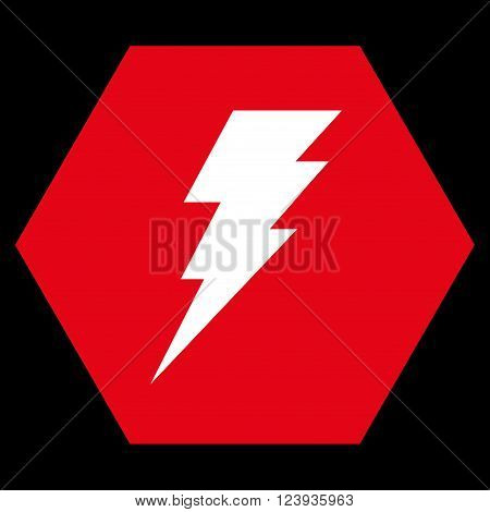 Execute vector symbol. Image style is bicolor flat execute pictogram symbol drawn on a hexagon with red and white colors.