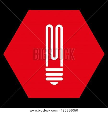 Fluorescent Bulb vector symbol. Image style is bicolor flat fluorescent bulb icon symbol drawn on a hexagon with red and white colors.