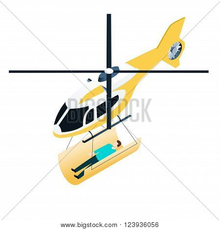 Isometric icon of emergency helicopter with people on stretcher