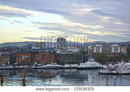 Oslo, Norway - January 04, 2013: view of Oslo and the Oslo Fjord