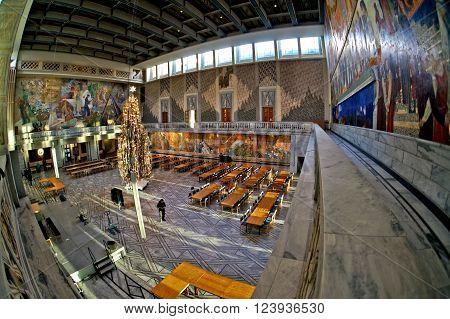 Oslo, Norway - January 04, 2013: interior of the Oslo city hall