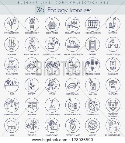 Vector Ecology outline icon set. Elegant thin line style design