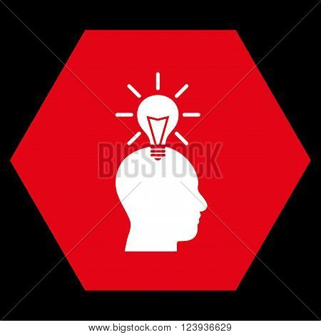 Genius Bulb vector pictogram. Image style is bicolor flat genius bulb pictogram symbol drawn on a hexagon with red and white colors.
