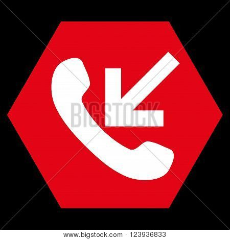 Incoming Call vector symbol. Image style is bicolor flat incoming call pictogram symbol drawn on a hexagon with red and white colors.