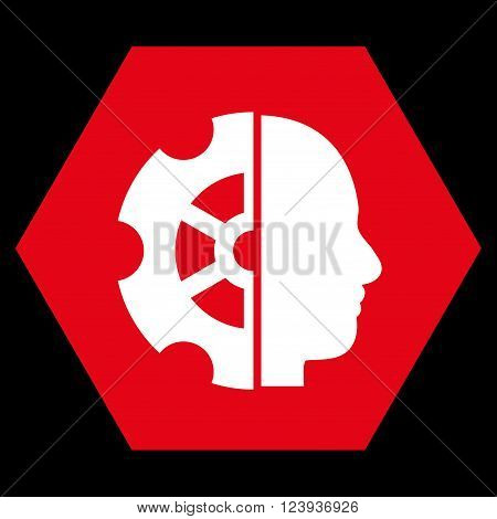 Intellect vector pictogram. Image style is bicolor flat intellect iconic symbol drawn on a hexagon with red and white colors.