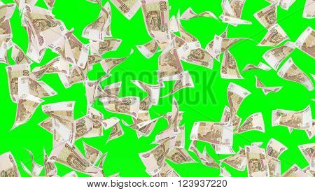 Falling banknotes of Russian rubel on chroma key background