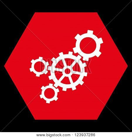 Mechanism vector icon symbol. Image style is bicolor flat mechanism iconic symbol drawn on a hexagon with red and white colors.