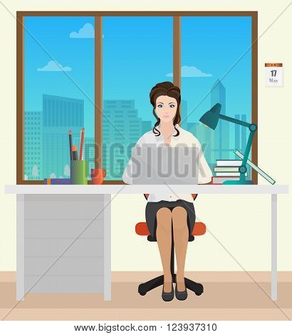 Woman Secretary in office interior. Businesswoman person working on laptop
