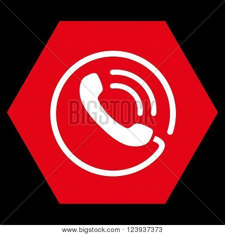 Phone Call vector icon. Image style is bicolor flat phone call pictogram symbol drawn on a hexagon with red and white colors.