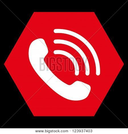 Phone Call vector symbol. Image style is bicolor flat phone call pictogram symbol drawn on a hexagon with red and white colors.