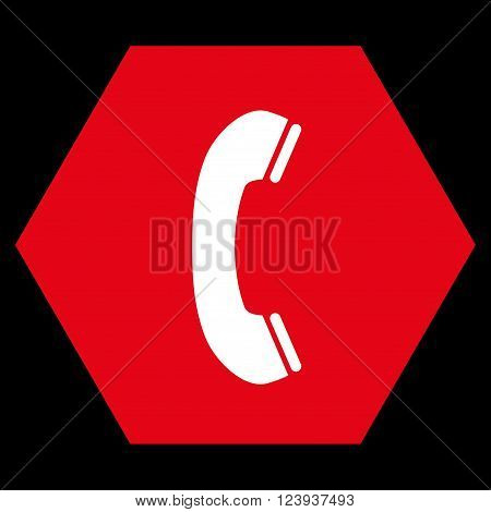 Phone Receiver vector pictogram. Image style is bicolor flat phone receiver icon symbol drawn on a hexagon with red and white colors.
