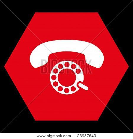 Pulse Dialing vector icon. Image style is bicolor flat pulse dialing icon symbol drawn on a hexagon with red and white colors.