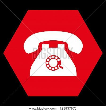 Pulse Phone vector icon symbol. Image style is bicolor flat pulse phone icon symbol drawn on a hexagon with red and white colors.