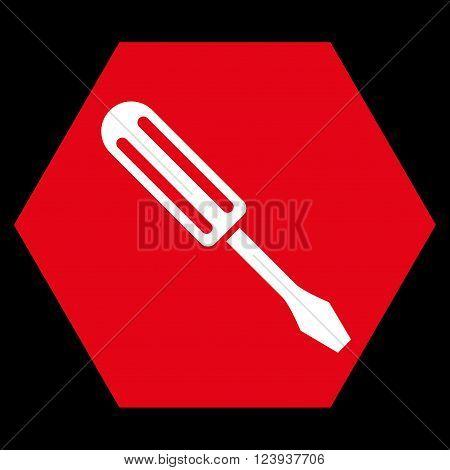 Screwdriver vector symbol. Image style is bicolor flat screwdriver icon symbol drawn on a hexagon with red and white colors.