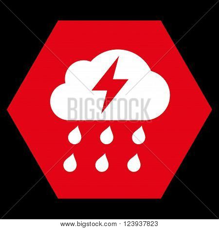 Thunderstorm vector symbol. Image style is bicolor flat thunderstorm icon symbol drawn on a hexagon with red and white colors.