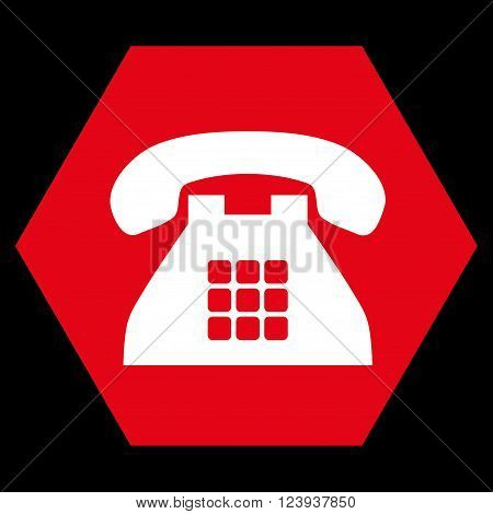 Tone Phone vector symbol. Image style is bicolor flat tone phone pictogram symbol drawn on a hexagon with red and white colors.