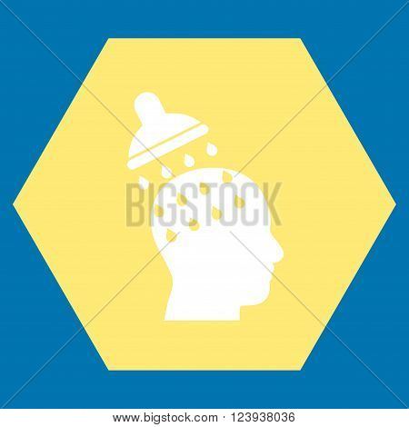 Brain Washing vector icon. Image style is bicolor flat brain washing icon symbol drawn on a hexagon with yellow and white colors.