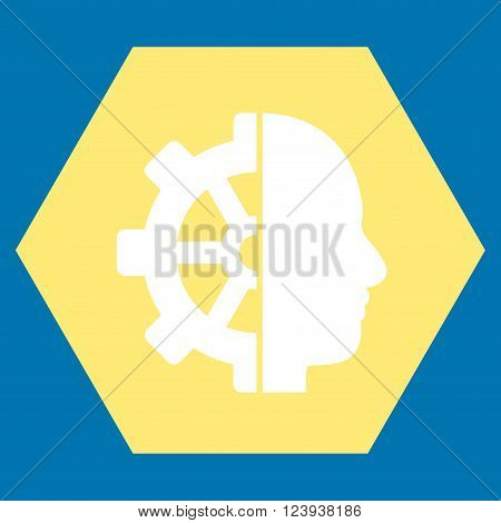 Cyborg Gear vector icon symbol. Image style is bicolor flat cyborg gear iconic symbol drawn on a hexagon with yellow and white colors.