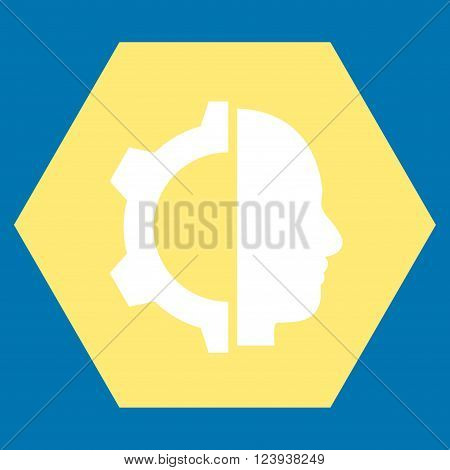 Cyborg Gear vector symbol. Image style is bicolor flat cyborg gear pictogram symbol drawn on a hexagon with yellow and white colors.