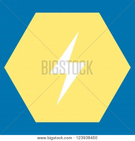 Electricity vector pictogram. Image style is bicolor flat electricity icon symbol drawn on a hexagon with yellow and white colors.