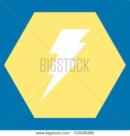 Execute vector icon. Image style is bicolor flat execute pictogram symbol drawn on a hexagon with yellow and white colors.
