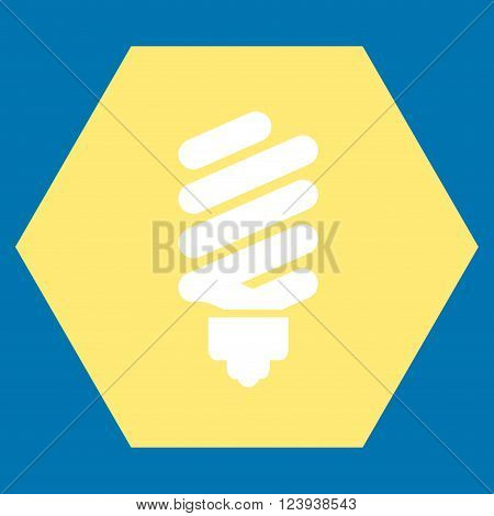 Fluorescent Bulb vector symbol. Image style is bicolor flat fluorescent bulb iconic symbol drawn on a hexagon with yellow and white colors.