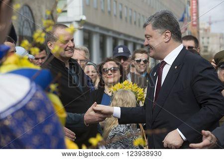 WASHINGTON D.C., USA - Mar 31, 2016: President of Ukraine Petro Poroshenko during a meeting with representatives of the Ukrainian community in Washington, DC (USA)