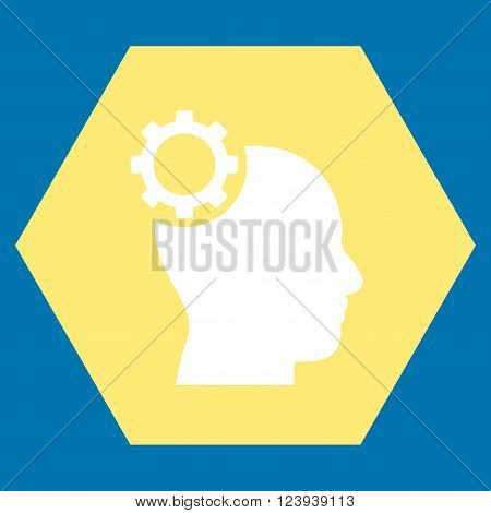 Intellect Gear vector pictogram. Image style is bicolor flat intellect gear pictogram symbol drawn on a hexagon with yellow and white colors.