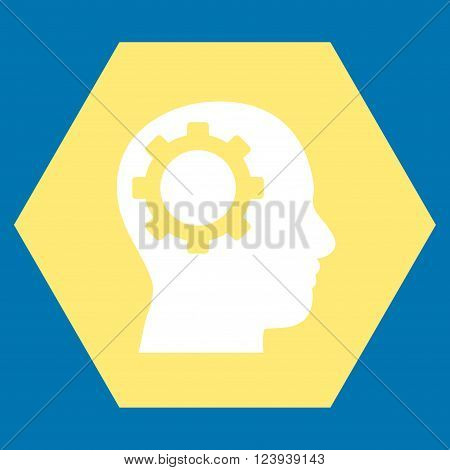 Intellect Gear vector icon. Image style is bicolor flat intellect gear pictogram symbol drawn on a hexagon with yellow and white colors.